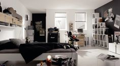 Stylish Exquisite Teen Rooms - Image 01 : Black White Funky Modern Teen Room Design with Bed Desk