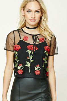 Forever 21 Contemporary -  A woven open mesh top featuring a round neckline with a self-tie accent, a back keyhole cutout with button loop closure, a built-in cami with adjustable straps, floral embroidery, and short sleeves.