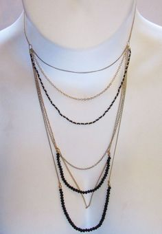Steve Madden Layered Necklace Black Beaded Gold Chain NWT #SteveMadden #Layered