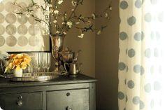 polka dots gone chic- grey curtains (ikea henny cirkel) & mod canvas!