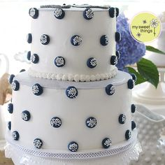 Sprinkled polka dots surround the Elephant Baby Shower cake ~ My Sweet Things