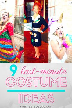 We have compiled our best 9 last-minute, easy Halloween costumes that can be made it home in less than an hour! Most Popular Halloween Costumes, Zombie Halloween Costumes, Halloween Themes, Fall Halloween, Twin Costumes, Easy Costumes, Costume Ideas, Zombie Makeup Easy, Old Lady Costume