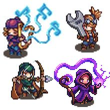 Bard, Engineer, Hunter, and Sorcerer. Game Character Design, Character Concept, Character Art, Sprites, 2d Game Art, Pixel Animation, Pixel Art Templates, Anime Pixel Art, Pixel Art Games