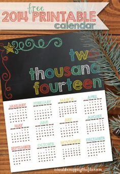 Free 2014 Chalkboard-Style Printable Calendar | Download and print as many as you like!