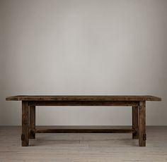 RH's Salvaged Wood Farmhouse Rectangular Extension Dining Table:A perennial classic, our farmhouse table evokes the clean-lined Parsons style and is handcrafted of unfinished, solid salvaged pine timbers from 100-year-old buildings in Great Britain.