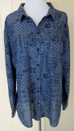 Old Navy Women's Plus Sz. XXL 2X Blue Bandana Long Sleeve Button Down Cotton Top #OldNavy #ButtonDownShirt
