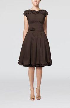 Chocolate Brown Cinderella Scalloped Edge Short Sleeve Chiffon Knee Length Lace Bridesmaid Dresses - iFitDress.com