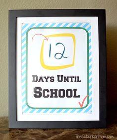 Back To School Countdown Free Printable - TheSuburbanMom