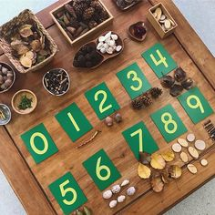 loose parts play numberplay looseparts reggioinspired Maths Eyfs, Numeracy Activities, Eyfs Classroom, Play Based Learning, Learning Through Play, Early Learning, Montessori Math, In Kindergarten, Preschool Activities