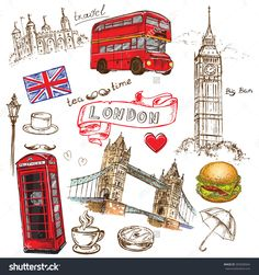 Find Vector Illustration Hand Drawing London Design stock images in HD and millions of other royalty-free stock photos, illustrations and vectors in the Shutterstock collection. Printable Stickers, Cute Stickers, Printable Planner, Planner Stickers, Printables, Bullet Journal Travel, Bullet Journal Ideas Pages, Bullet Journal Inspiration, Travel Scrapbook