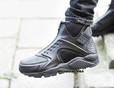 Officiel Nike Air Huarache Run Mid Chaussures Nike 2016 Pas Cher Pour Femme Noir
