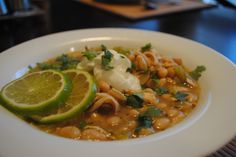 White chicken chili - delicious soup that is filling and low calorie.  I served with a quesadilla. Tasty.