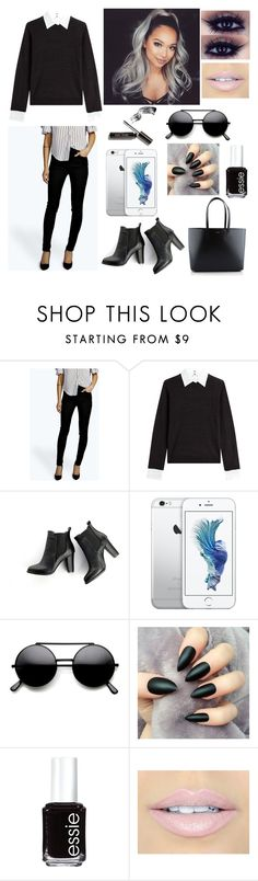 """Born to Wear Black"" by tajda-ilar ❤ liked on Polyvore featuring Steffen Schraut, SWEET MANGO, Essie, Fiebiger and Yves Saint Laurent"