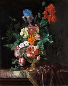Nicolaes Lachtropius  tätig in Amsterdam im 17. Jahrhundert  Stillleben mit Blumenvase und Insekten  Öl auf Leinwand (doubliert). 66,5 x 53,5 cm.  Signiert und datiert oben links: N. Lachtropius 1668.
