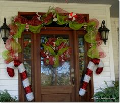 Front Door decorated in Candy theme with mesh ribbon