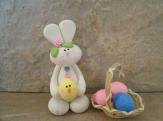 Bunny Chick and Basket of Eggs by countrycupboardclay on Etsy, $12.95
