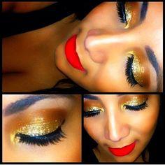 Bright red lips + gold eyeshadow