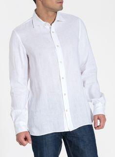 Linen Spread Collar Long Sleeve Men Shirt
