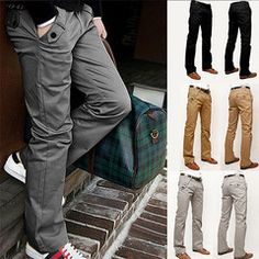 $28 for a Pair of Men's Leisure Straight-Leg Pants | DrGrab