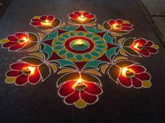 Beautiful rangoli designs for diwali. This is very easy and simple rangoli. Easy Rangoli Designs Diwali, Rangoli Designs Flower, Small Rangoli Design, Rangoli Border Designs, Colorful Rangoli Designs, Rangoli Ideas, Diwali Rangoli, Rangoli Designs Images, Beautiful Rangoli Designs