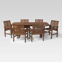7pc Extendable Outdoor Patio Dining Set Dark Brown - Saracina Home : Target