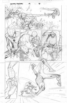 Norman Osborn as the Green Goblin and Peter Parker as Spider-Man (pencils to page 21 of Ultimate Spider-Man Vol. 1 - Visit to grab an amazing super hero shirt now on sale! Comic Book Layout, Comic Book Pages, Comic Book Artists, Comic Book Characters, Comic Artist, Comic Books Art, Hq Marvel, Marvel Comics, Storyboard