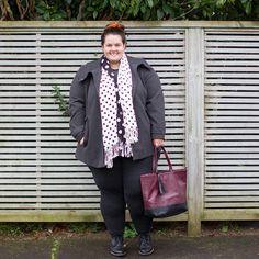 New Zealand plus size fashion blogger Meagan Kerr wears Autograph Melton winter coat and K&K polka dot scarf