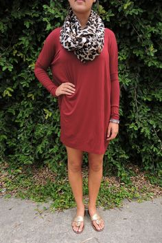 Wine long sleeve Piko dress with leopard scarf