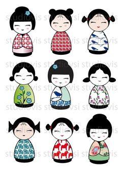hoja de digital las muñecas de kokeshi por studiovis en Etsy