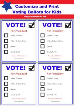 Free Printable Ballots for Kids - Classroom Voting Ballot