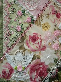 crazy quilting embellishments | Embellishment - Embroidery, Crazy Quilt, Ribbon Work etc. / Crazy ...