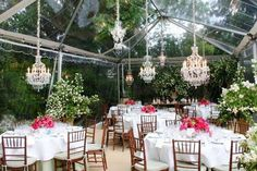 CRYSTAL JEWEL: This small clear tent exudes elegance with the crystal chandeliers and beige carpet. A wonderfully intimate space for a home wedding! Tent Wedding, Home Wedding, Wedding Stuff, Small Garden Marquee, Event Tent Rental, Clear Marquee, Twilight Wedding, Clear Tent, Marquee Events