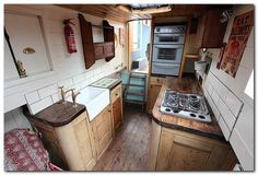 This is from a 'Dutch barge style narrowboat' called river otter. Narrowboat Kitchen, Narrowboat Interiors, House Boat Interiors, Barge Interior, Interior Ideas, Interior Design, Canal Boat Interior, Houseboat Living, Houseboat Ideas