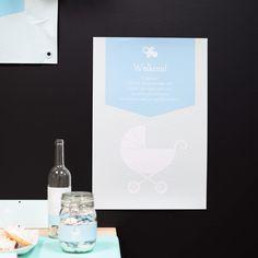 Muurposter | Kinderwagen Blauw #babyborrel #baptism #poster #Beaublue
