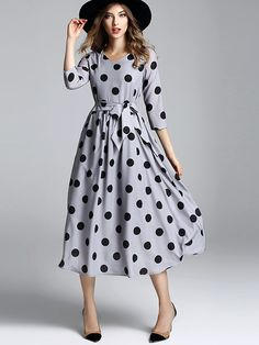 Grey Polka Dot Printed Swing Midi Dress