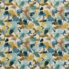 Navy Blue Yellow Floral Velvet Upholstery Fabric  Navy Blue