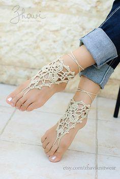 SALE Crocheted Barefoot SandalsNude shoesFoot jewelryLace by ZHAVI