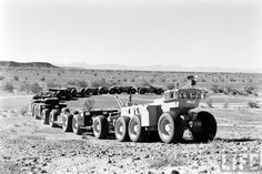 TC-497 Overland Train MkII designed by R.G. LeTourneau in 1962. 572-feet long and powered by 52 motors -- one for each wheel.