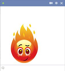 This Facebook emoticon is all fired up about something.