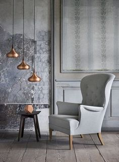 Copper and grey, nice mix. Modern Interior, Modern Furniture, Furniture Design, Interior Design, Scandinavian Living, Scandinavian Design, Living Spaces, Living Room, Lounge