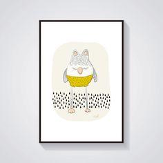 Impression - Hibou moutarde - Affiche / Illustration A4 : Affiches, illustrations, posters par adelfabric