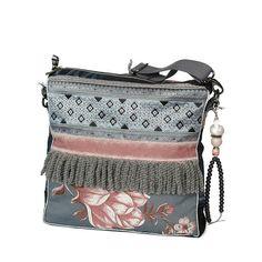 Oud roze bloem tas bohemian stijl, franje schoudertas grijs roze, stoffen tas handgemaakt,  exclusief cadeau voor dames, moederdag cadeau