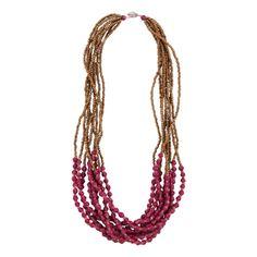 Fuchsia Sunday Frill Necklace by 31 Bits - SET & STYLE (Free Shipping)