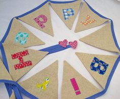 'happy birthday' applique bunting in linen by sew sweet violet | notonthehighstreet.com