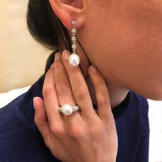 Macy /& Co Nouveau R.H Cultured Freshwater Pearl Boucles D/'Oreilles Argent Sterling 7-8 mm