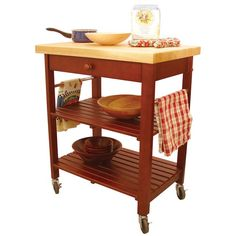 Cart feature two slatted shelvesConvenient drawer keeps your kitchen organizedLocking casters keep cart in place