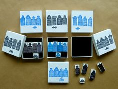 These little boxes with 5 hand carved stamps are for sale at the Museum Market Now you can print your own Amsterdam Canal scenes! Stamp Printing, Printing On Fabric, Eraser Stamp, Sell Stamps, Amsterdam Canals, Stamp Carving, Tin Art, Paperchase, Crafty Projects