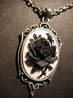 Black and White Rose Cameo Necklace in Antique Silver
