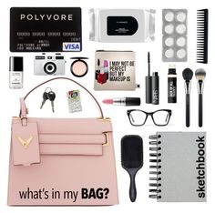 """""""What's in my tote bag?"""" by karineminzonwilson ❤ liked on Polyvore featuring Valentino, Bare Escentuals, GHD, Paperchase, Denman, MAC Cosmetics, NARS Cosmetics, Chanel, Spitfire and Holga"""
