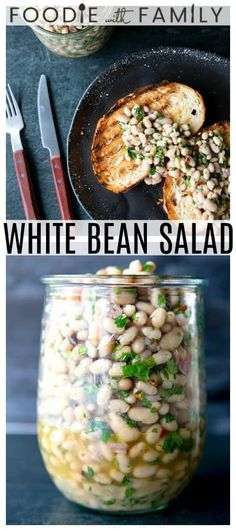 White Bean Salad with abundant fresh herbs and a simple vinaigrette dressing is delicious as a light lunch on its own or as a side dish with all your favorite entrees, and it comes together as quick as can be! Veggie Dishes, Veggie Recipes, Whole Food Recipes, Vegetarian Recipes, Cooking Recipes, Bean Salad Recipes, Hamburger Recipes, Veggie Food, Soup Recipes